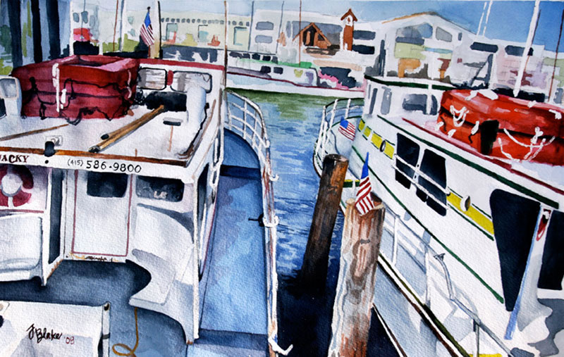 """Fisherman's Wharf,"" watercolor, 11"" x 15"""