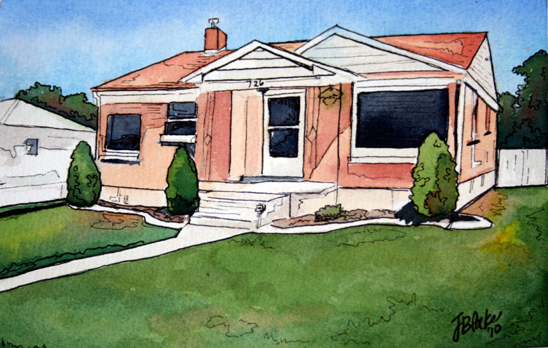"""Grandma's House,"" watercolor and ink, 5"" x 7"""