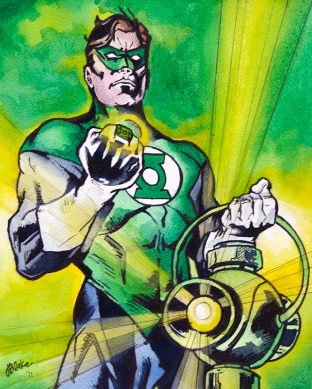"""Green Lantern Study,"" watercolor and ink, 8"" x 10"""