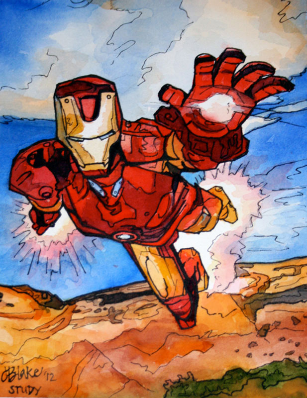 """Iron Man Study,"" watercolor and ink, 8"" x 10"""