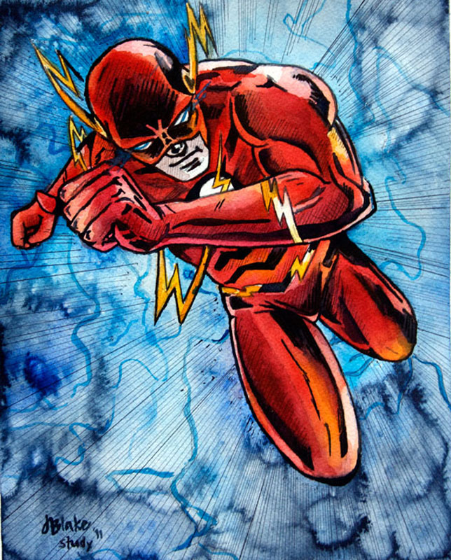 """The Flash Study,"" watercolor and ink, 8"" x 10"""