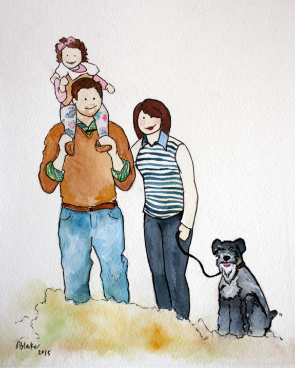 "Blake family portrait, watercolor and ink, 8""x10"""